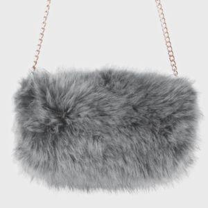 Handbags - Faux Fur Hand Warmer Muff Clutch Bag